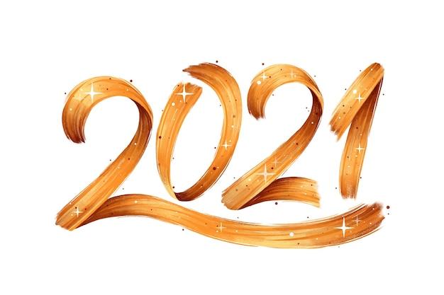 Aquarel penseelstreek nieuwe jaar 2021 achtergrond