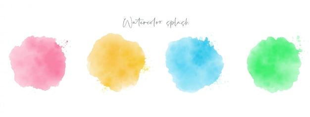 Aquarel penseelstreek set, abstract splash kleur, aquarel effect vector, blauw, groen, roze en geel gekleurde textuur