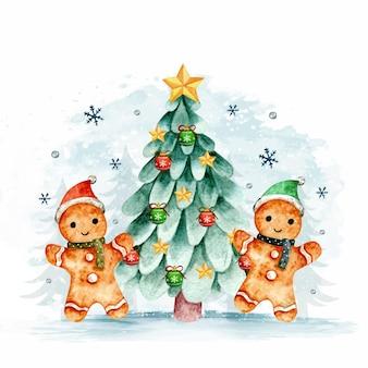 Aquarel peperkoek en kerstboom