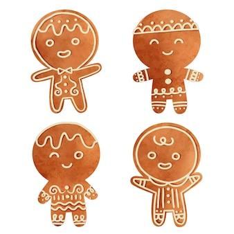 Aquarel peperkoek man cookies collectie