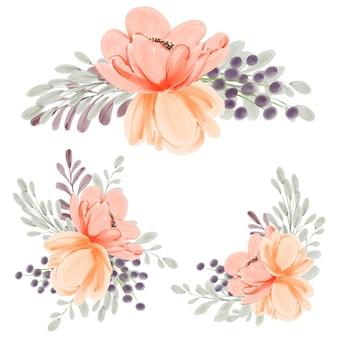 Aquarel perzik peony bloemstuk ingesteld voor decoratie-element