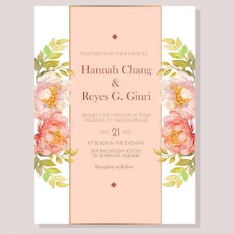Aquarel perzik pioenrozen bruiloft uitnodiging sjabloon