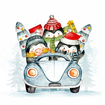Aquarel pinguin rijdende auto met kerstboom