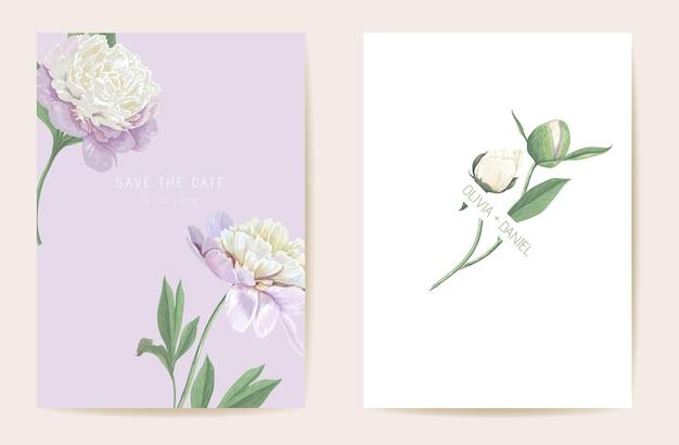 Aquarel pioen bloemen bruiloft kaart. vector lentebloem, rustieke bloesem, verlaat uitnodiging. boho sjabloon frame. botanische save the date gebladerte cover, moderne design poster
