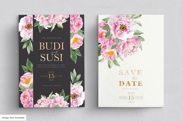 Aquarel pioenrozen bruiloft uitnodiging kaartenset