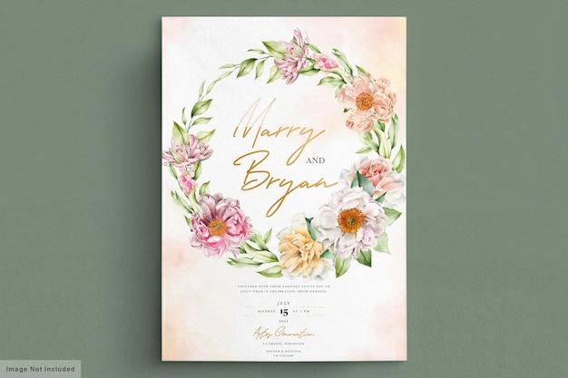Aquarel pioenrozen en rozen uitnodigingskaart
