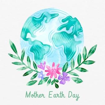 Aquarel platte moeder aarde dag illustratie