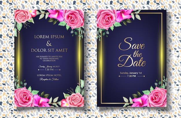Aquarel plons bloemen bruiloft uitnodigingskaart