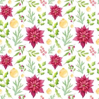 Aquarel poinsettia bloemen naadloze patroon