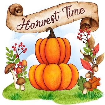 Aquarel pompoenen op een herfst achtergrond met vintage scroll banner