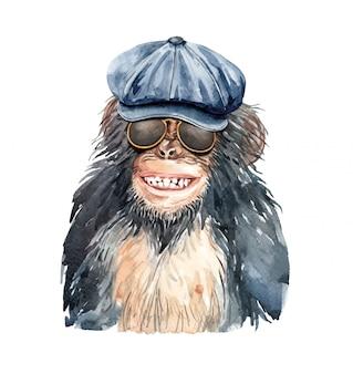 Aquarel portret aap glimlach met krantenverkoper hoed.