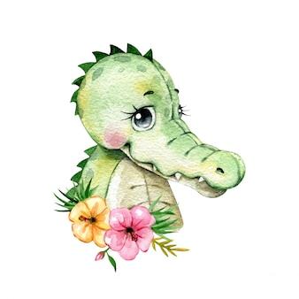 Aquarel portret van een schattige cartoon krokodil met hibiscus bloemen