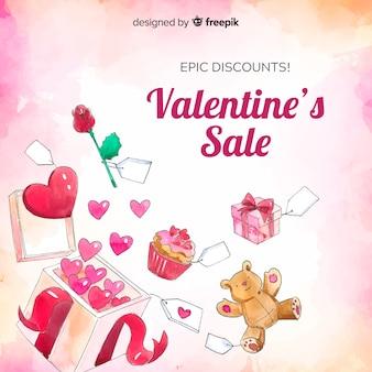 Aquarel presenteert valentine verkoop achtergrond