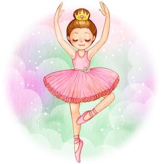 Aquarel prinses ballerina brunette met gouden kroon