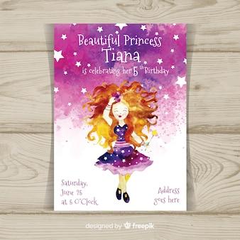 Aquarel prinses partij uitnodigingssjabloon