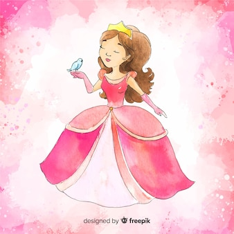 Aquarel prinses tekening achtergrond