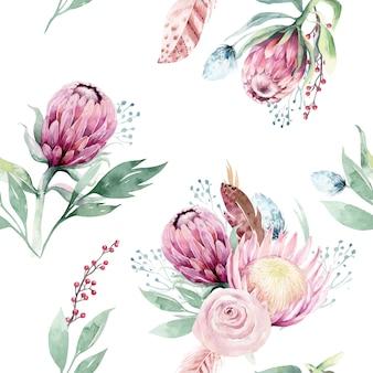 Aquarel protea naadloze patroon. hand getrokken illustratie