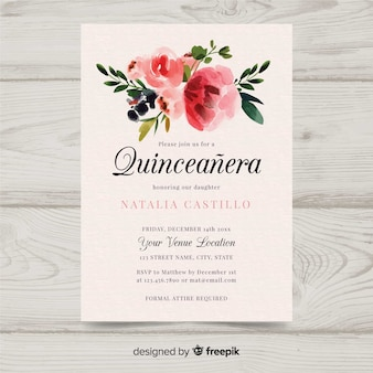 Aquarel quinceañera uitnodiging
