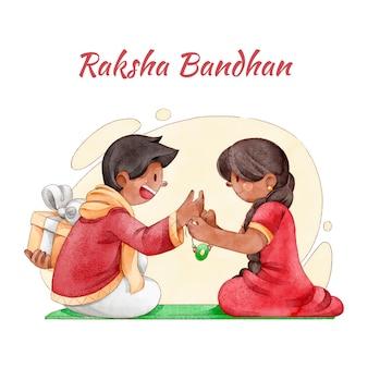 Aquarel raksha bandhan concept