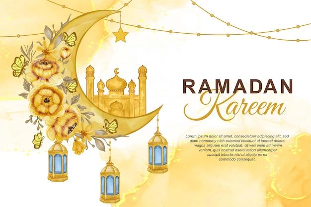 Aquarel ramadan kareem afbeelding achtergrond