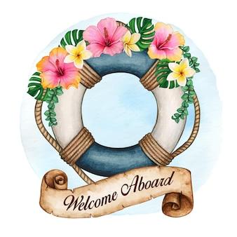 Aquarel reddingsboei versierd met tropische bloemen en scroll