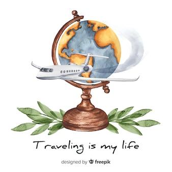 Aquarel reizen achtergrond met motiverende citaat