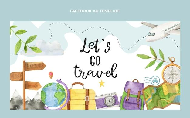 Aquarel reizen facebook sjabloon