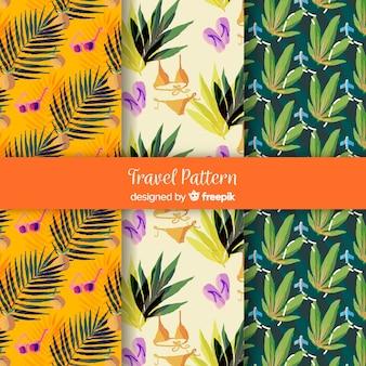 Aquarel reizen patroon collectie