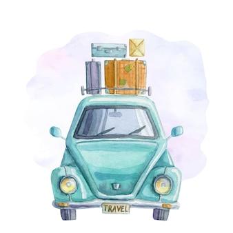 Aquarel reizende blauwe auto met koffers