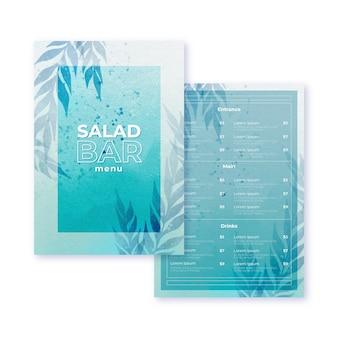 Aquarel restaurant menusjabloon thema
