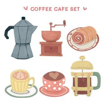 Aquarel retro vintage koffie apparatuur illustratie set