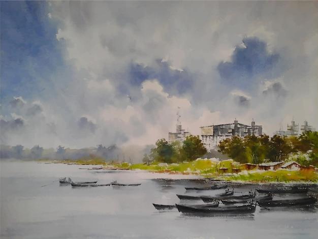 Aquarel rivier en boot met het vissersleven