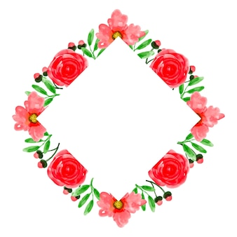 Aquarel rode bloem frame achtergrond