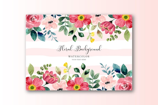 Aquarel rode bloem frame kaart