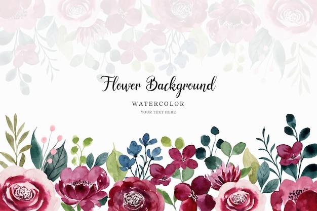 Aquarel rode bloementuin achtergrond