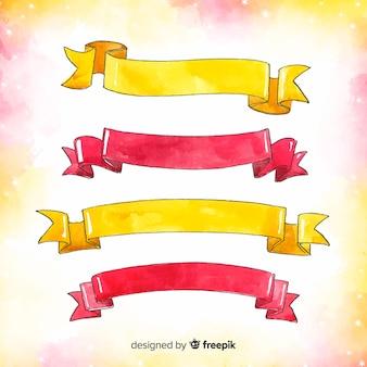 Aquarel rode en gele kerst lint collectie