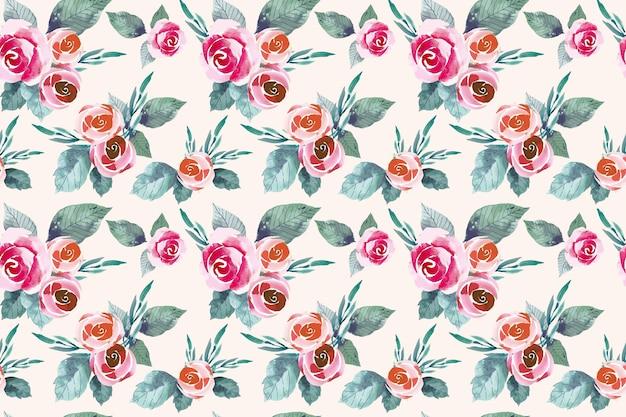 Aquarel rode en oranje bloemen naadloze patroon