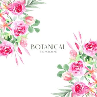 Aquarel rode roos botanische boeket op hoek ontwerp, witte achtergrond