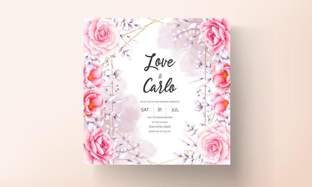 Aquarel rode roos bruiloft uitnodigingskaart