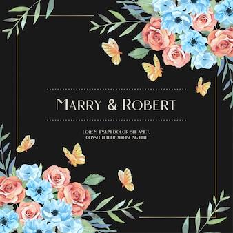 Aquarel rode roos en blauwe anemoon met oranje vlinder botanische boeket losse stijl uitnodiging sjabloon
