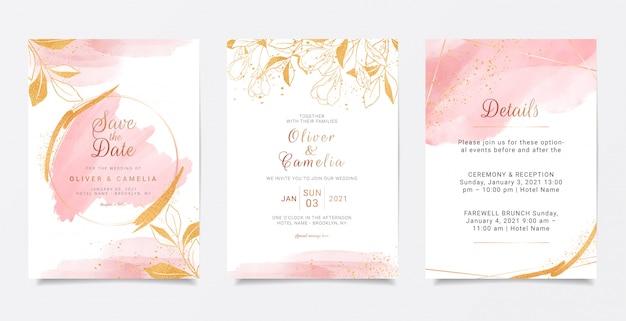 Aquarel romige bruiloft uitnodiging kaartsjabloon ingesteld met gouden bloemendecoratie.