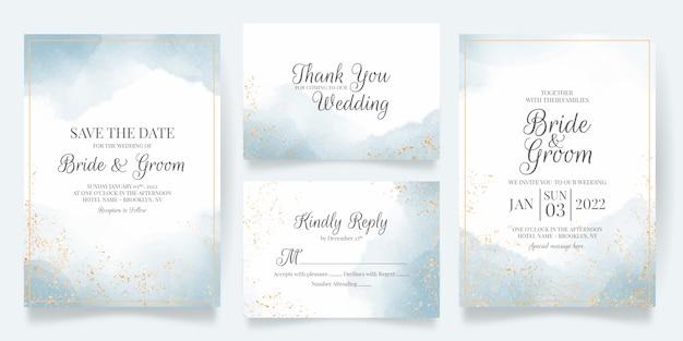 Aquarel romige bruiloft uitnodiging kaartsjabloon met gouden bloemendecoratie