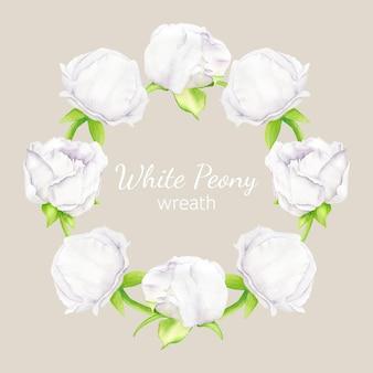 Aquarel ronde bloemen frame met witte pioenroos bloemen