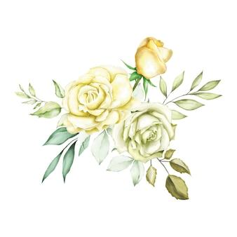 Aquarel roos boeket achtergrond