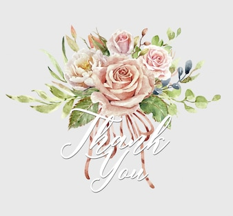 Aquarel roos boeket en Bedankkaart