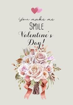 Aquarel roos boeket voor valentijnsdag