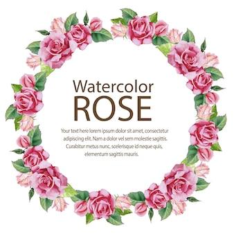 Aquarel roos kaart bush ronde tekst