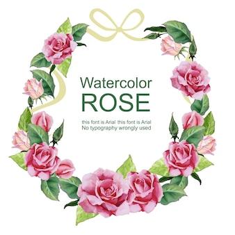 Aquarel roos krans bloemstuk