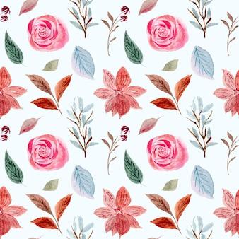 Aquarel roos naadloze bloemmotief