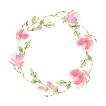 Aquarel roze bloeiende magnolia bloem en tak krans frame